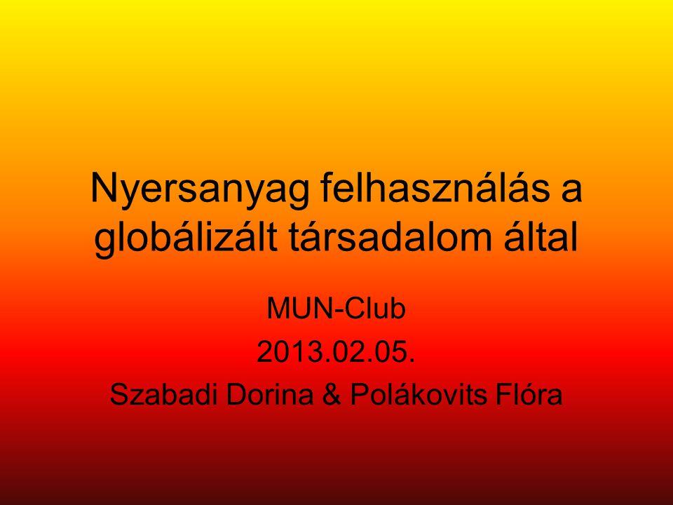 Nyersanyag felhasználás a globálizált társadalom által