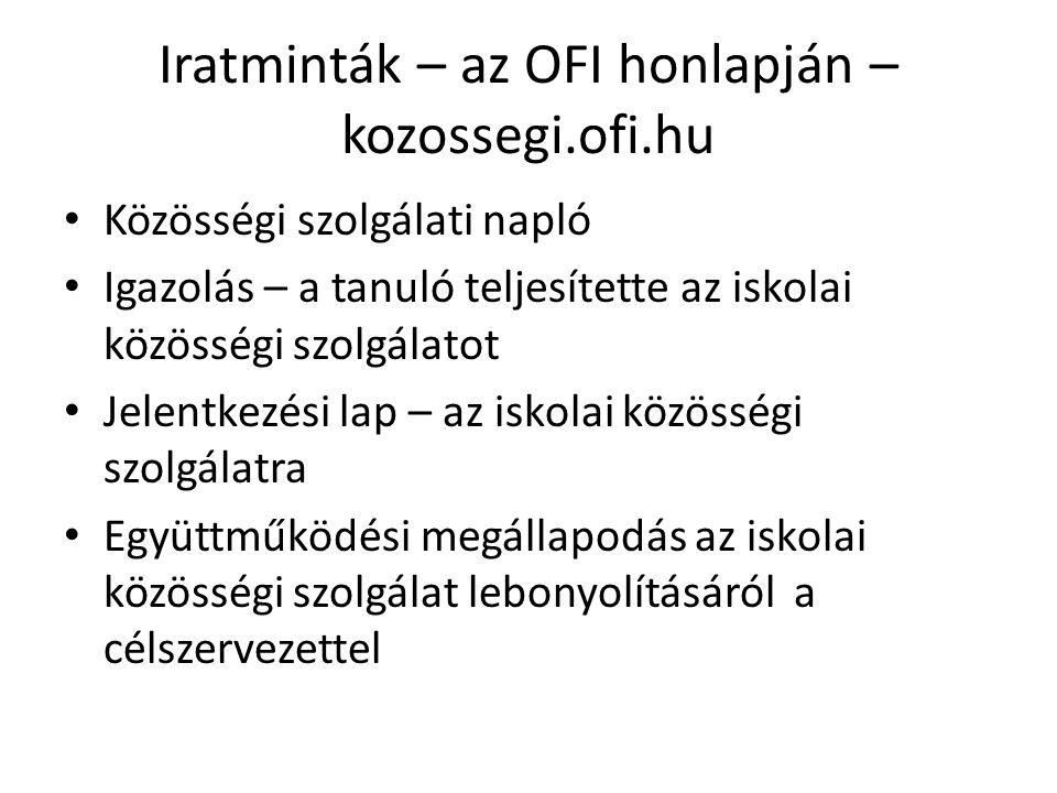 Iratminták – az OFI honlapján – kozossegi.ofi.hu