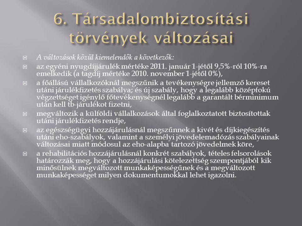 6. Társadalombiztosítási törvények változásai