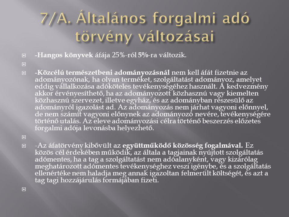 7/A. Általános forgalmi adó törvény változásai
