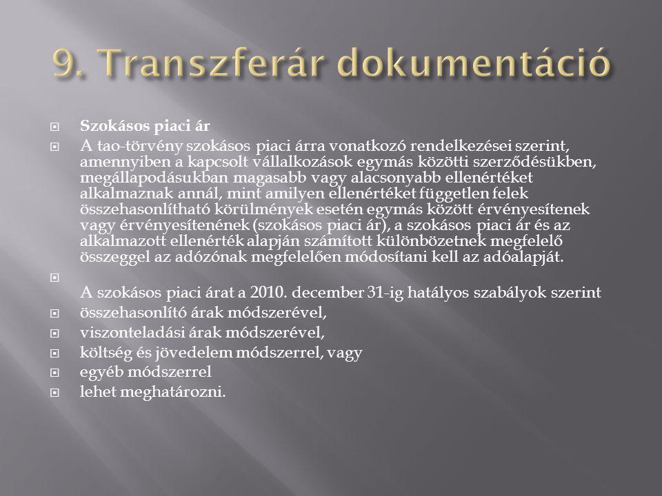 9. Transzferár dokumentáció