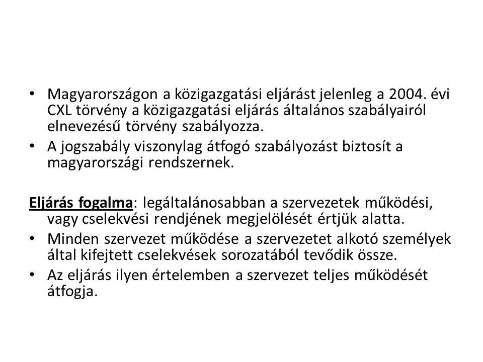 Magyarországon a közigazgatási eljárást jelenleg a 2004