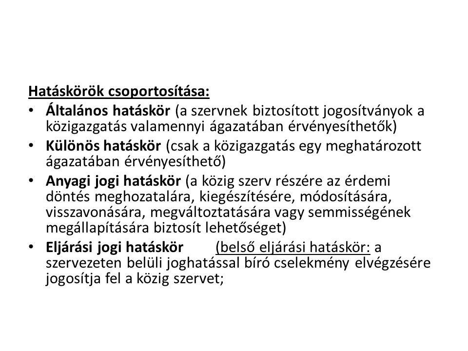 Hatáskörök csoportosítása: