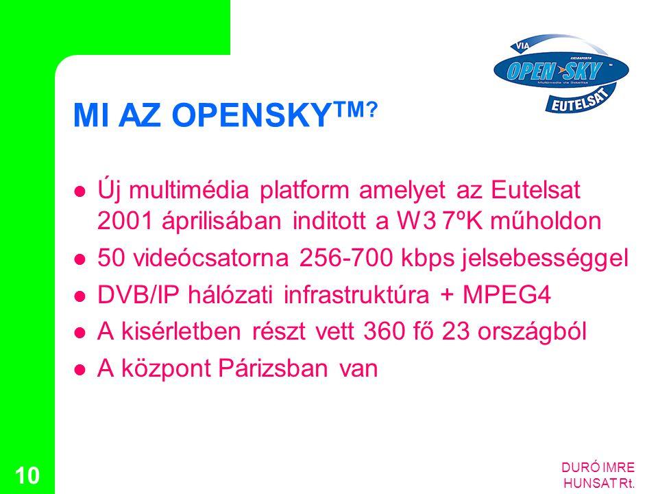 MI AZ OPENSKYTM Új multimédia platform amelyet az Eutelsat 2001 áprilisában inditott a W3 7ºK műholdon.