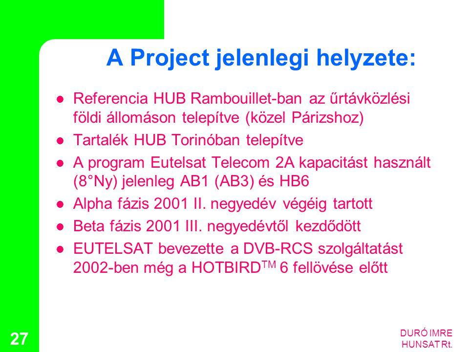 A Project jelenlegi helyzete: