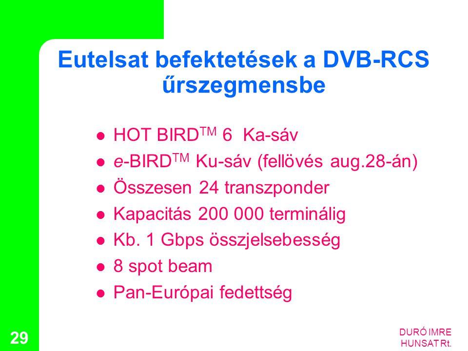 Eutelsat befektetések a DVB-RCS űrszegmensbe