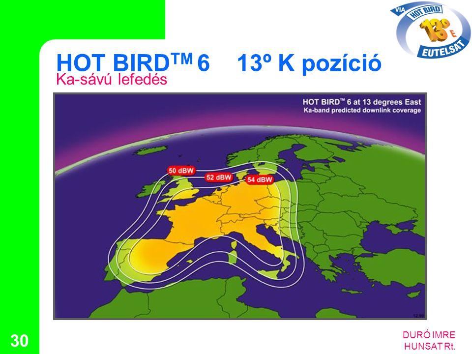 HOT BIRDTM 6 13º K pozíció Ka-sávú lefedés DURÓ IMRE HUNSAT Rt.