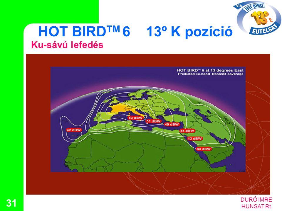 HOT BIRDTM 6 13º K pozíció Ku-sávú lefedés DURÓ IMRE HUNSAT Rt.