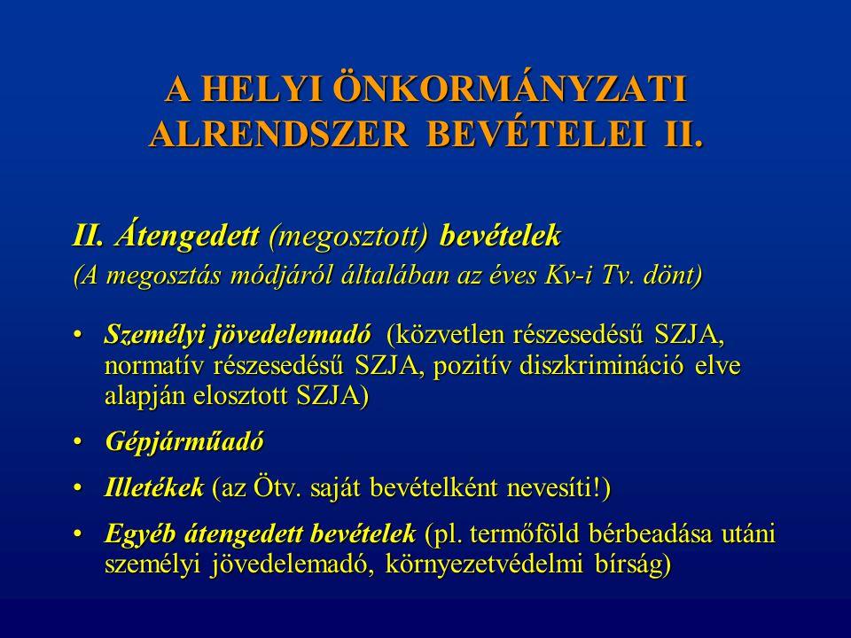 A HELYI ÖNKORMÁNYZATI ALRENDSZER BEVÉTELEI II.