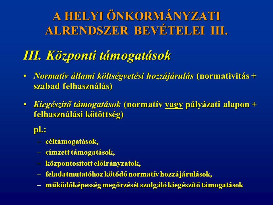 A HELYI ÖNKORMÁNYZATI ALRENDSZER BEVÉTELEI III.