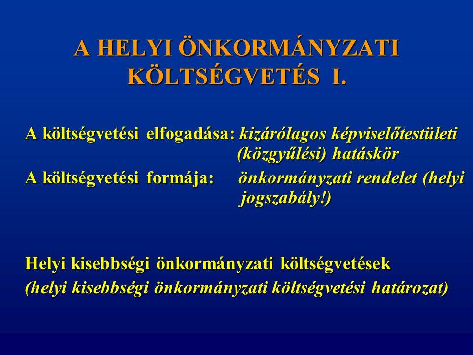 A HELYI ÖNKORMÁNYZATI KÖLTSÉGVETÉS I.