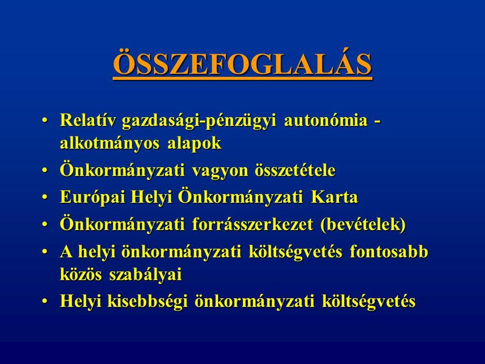 ÖSSZEFOGLALÁS Relatív gazdasági-pénzügyi autonómia - alkotmányos alapok. Önkormányzati vagyon összetétele.