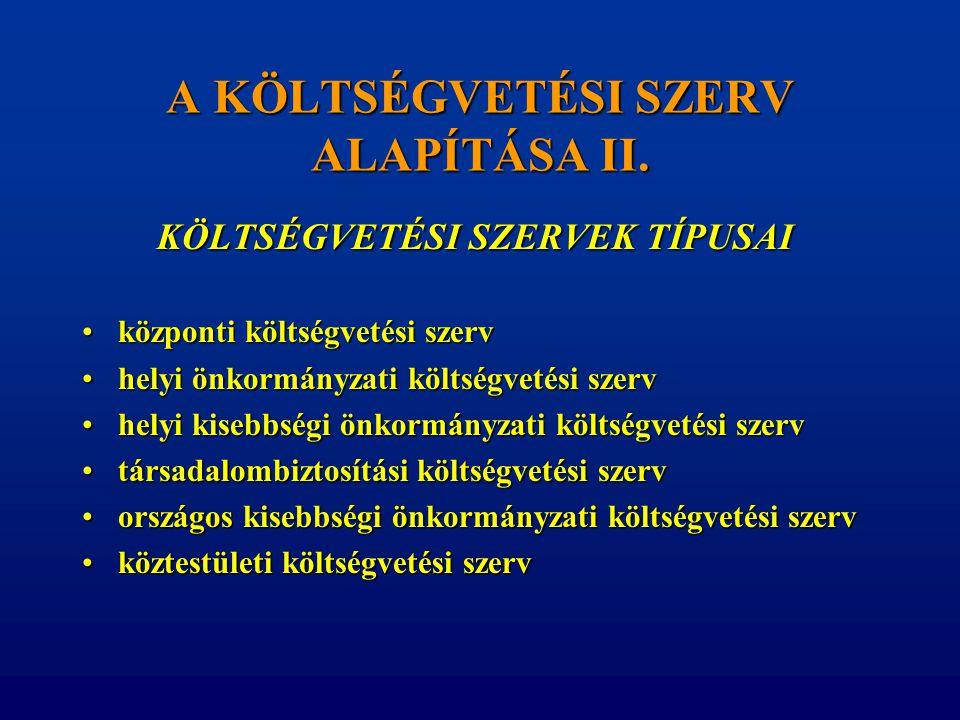A KÖLTSÉGVETÉSI SZERV ALAPÍTÁSA II.
