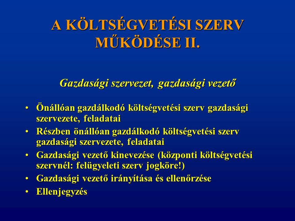 A KÖLTSÉGVETÉSI SZERV MŰKÖDÉSE II.