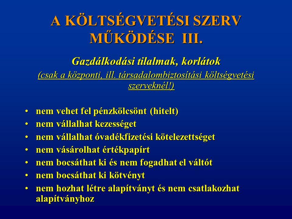 A KÖLTSÉGVETÉSI SZERV MŰKÖDÉSE III.