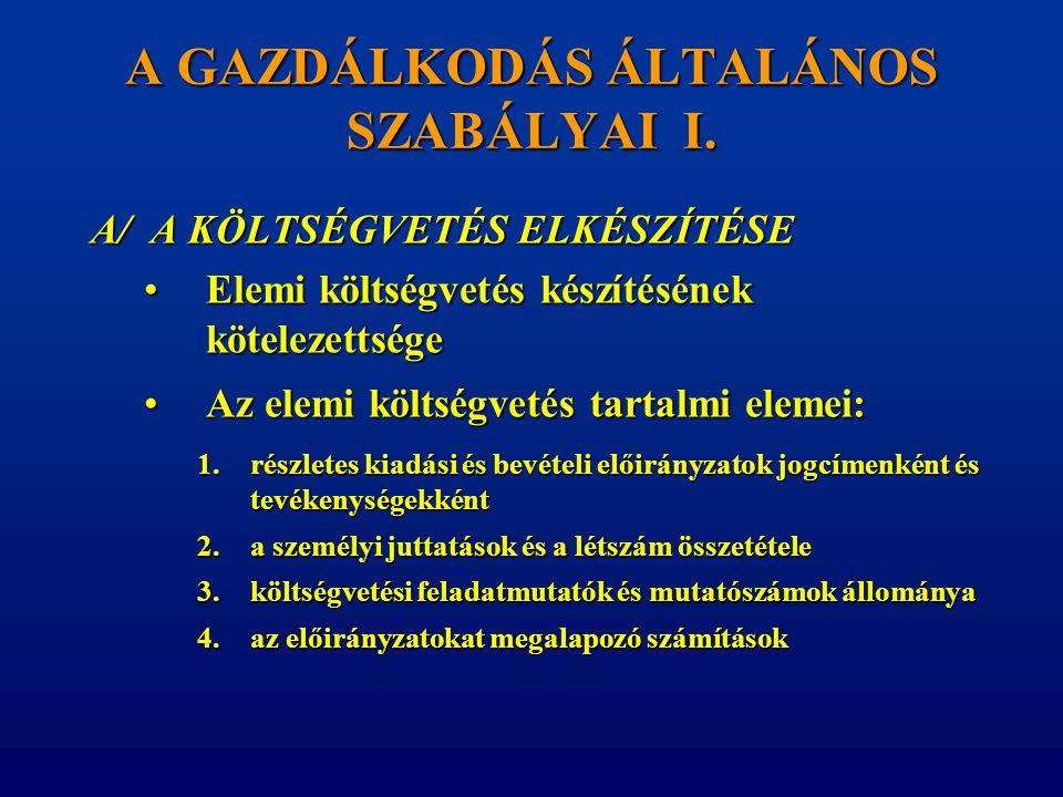 A GAZDÁLKODÁS ÁLTALÁNOS SZABÁLYAI I.