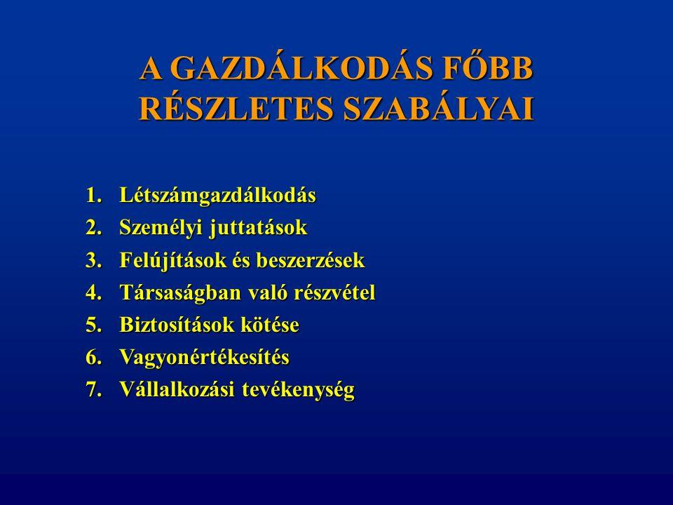 A GAZDÁLKODÁS FŐBB RÉSZLETES SZABÁLYAI