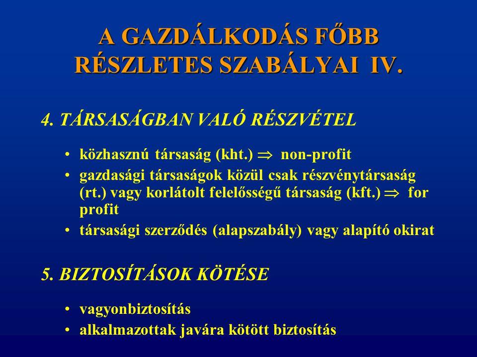 A GAZDÁLKODÁS FŐBB RÉSZLETES SZABÁLYAI IV.