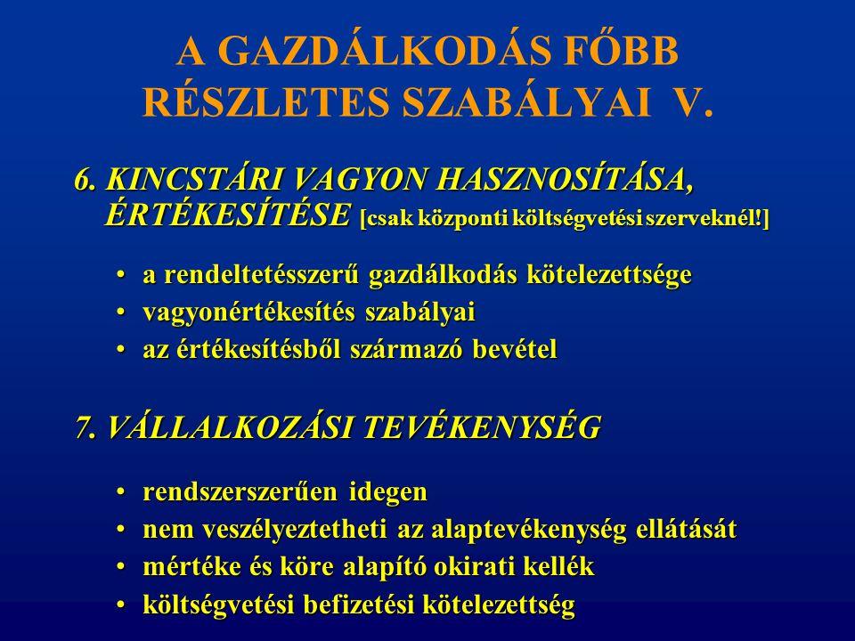 A GAZDÁLKODÁS FŐBB RÉSZLETES SZABÁLYAI V.