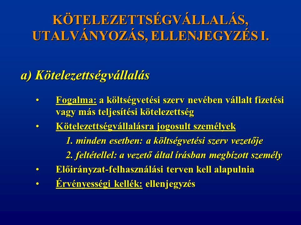 KÖTELEZETTSÉGVÁLLALÁS, UTALVÁNYOZÁS, ELLENJEGYZÉS I.