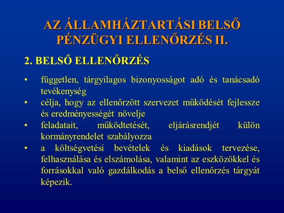 AZ ÁLLAMHÁZTARTÁSI BELSŐ PÉNZÜGYI ELLENŐRZÉS II.