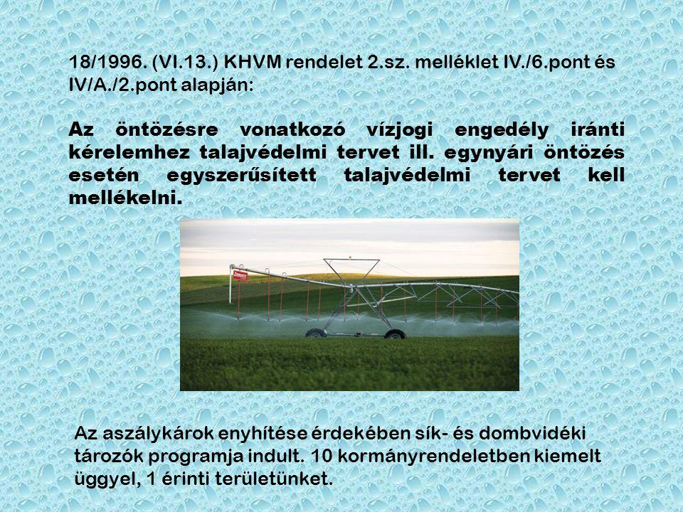 18/1996. (VI.13.) KHVM rendelet 2.sz. melléklet IV./6.pont és IV/A./2.pont alapján: