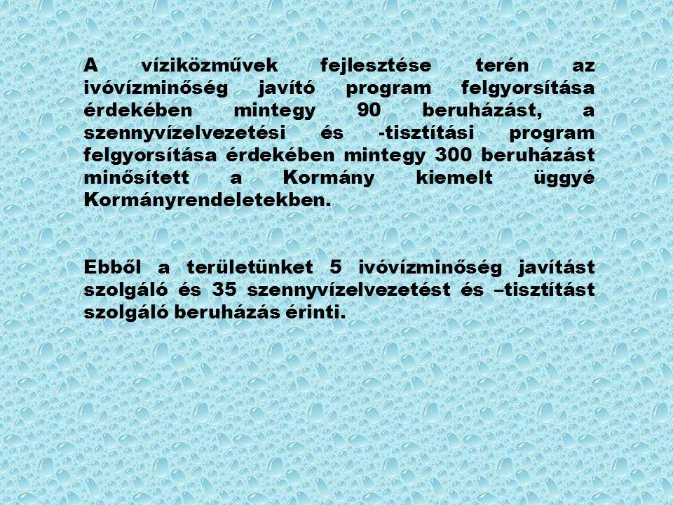 A víziközművek fejlesztése terén az ivóvízminőség javító program felgyorsítása érdekében mintegy 90 beruházást, a szennyvízelvezetési és -tisztítási program felgyorsítása érdekében mintegy 300 beruházást minősített a Kormány kiemelt üggyé Kormányrendeletekben.