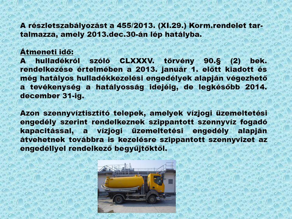 A részletszabályozást a 455/2013. (XI. 29. ) Korm