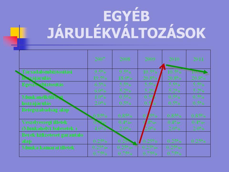 EGYÉB JÁRULÉKVÁLTOZÁSOK