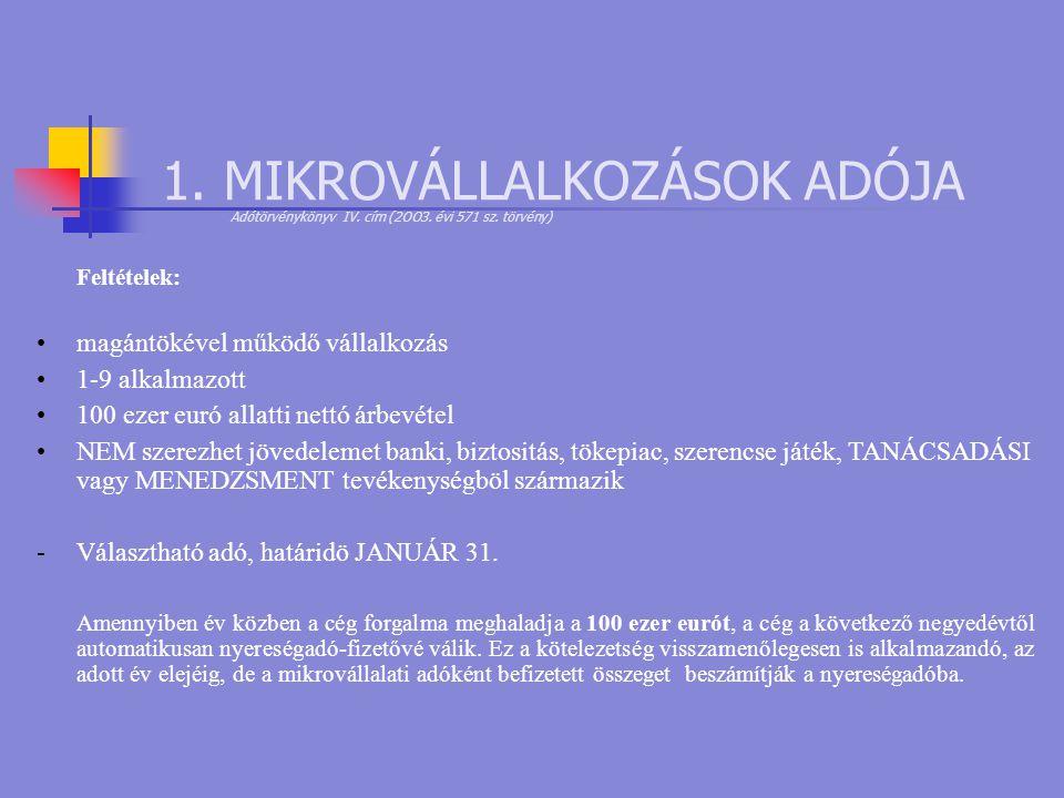 1. MIKROVÁLLALKOZÁSOK ADÓJA Adótörvénykönyv IV. cím (2OO3. évi 571 sz
