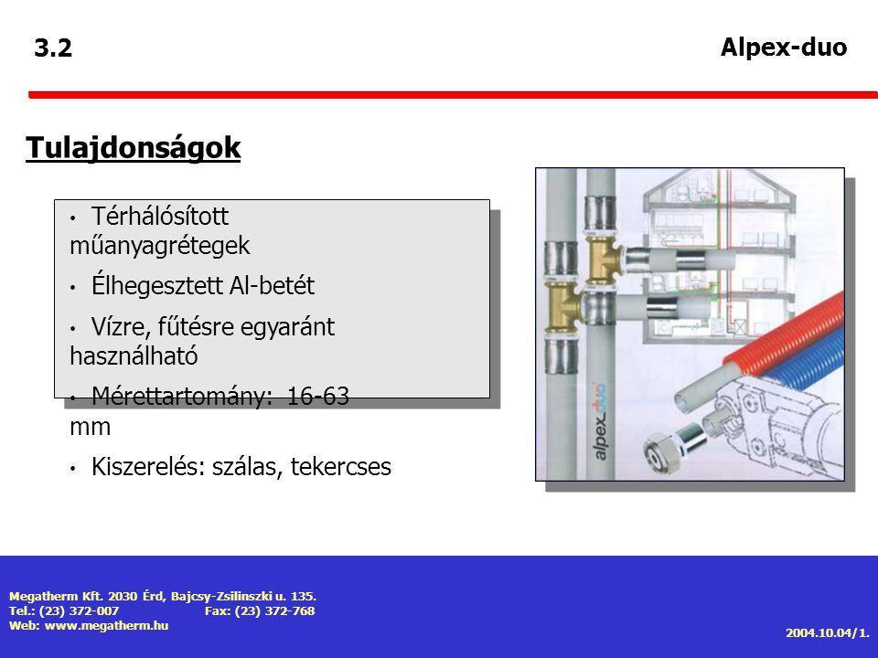 Tulajdonságok 3.2 Alpex-duo Térhálósított műanyagrétegek