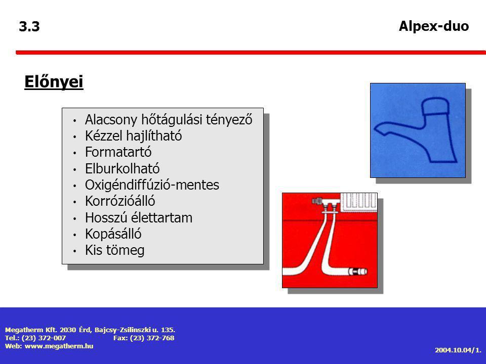 Előnyei 3.3 Alpex-duo Alacsony hőtágulási tényező Kézzel hajlítható