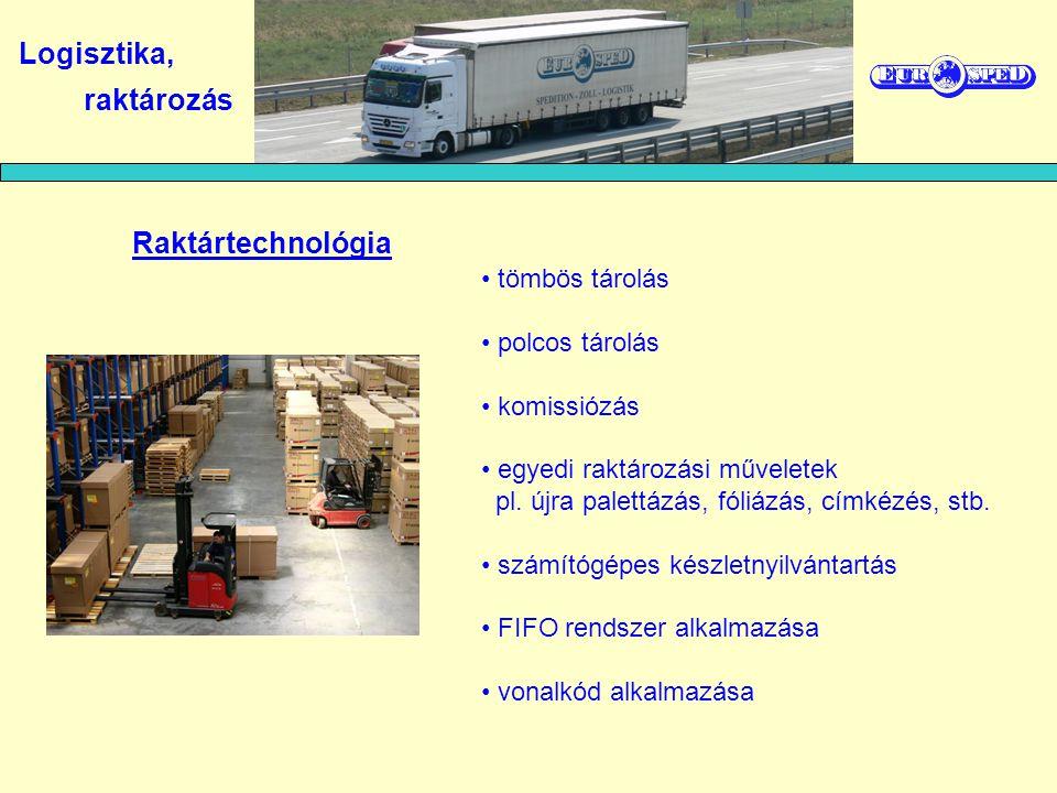Logisztika, raktározás Raktártechnológia tömbös tárolás polcos tárolás