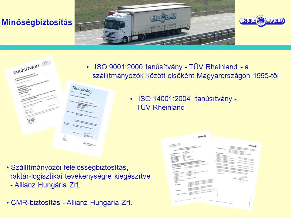 Minőségbiztosítás ISO 9001:2000 tanúsítvány - TÜV Rheinland - a szállítmányozók között elsőként Magyarországon 1995-től.