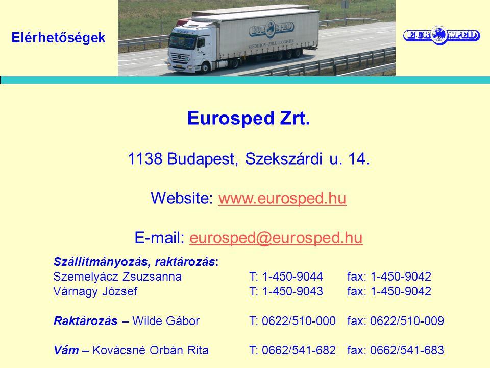 Eurosped Zrt. 1138 Budapest, Szekszárdi u. 14.