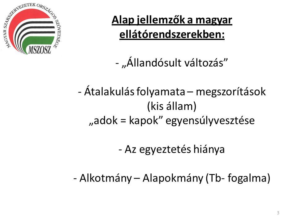 """Alap jellemzők a magyar ellátórendszerekben: - """"Állandósult változás - Átalakulás folyamata – megszorítások (kis állam) """"adok = kapok egyensúlyvesztése - Az egyeztetés hiánya - Alkotmány – Alapokmány (Tb- fogalma)"""
