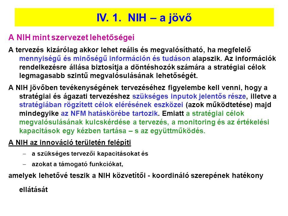 IV. 1. NIH – a jövő A NIH mint szervezet lehetőségei