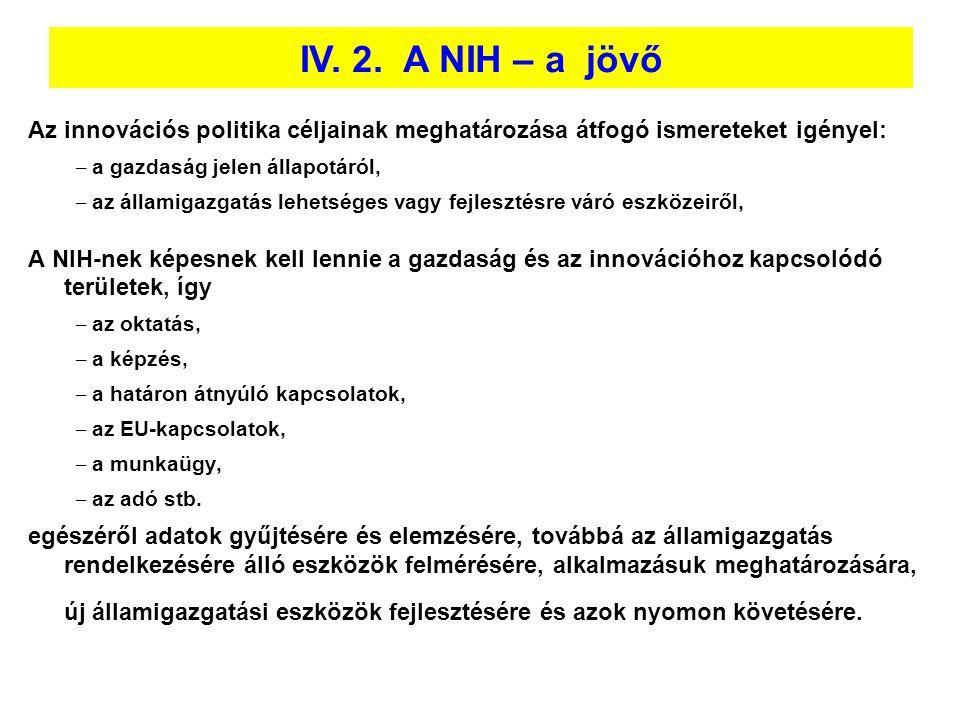 IV. 2. A NIH – a jövő Az innovációs politika céljainak meghatározása átfogó ismereteket igényel: a gazdaság jelen állapotáról,