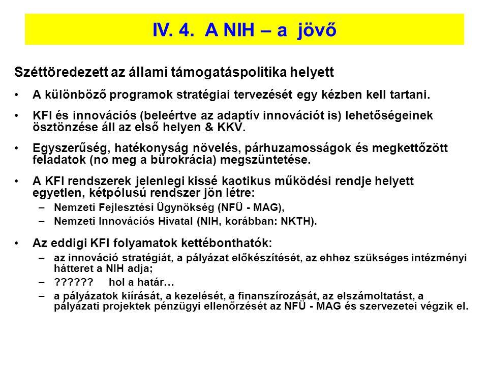 IV. 4. A NIH – a jövő Széttöredezett az állami támogatáspolitika helyett. A különböző programok stratégiai tervezését egy kézben kell tartani.