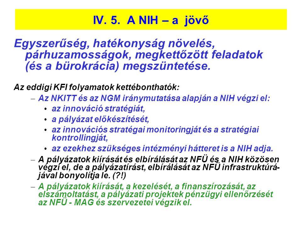 IV. 5. A NIH – a jövő Egyszerűség, hatékonyság növelés, párhuzamosságok, megkettőzött feladatok (és a bürokrácia) megszüntetése.