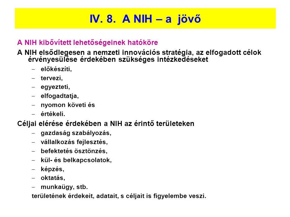 IV. 8. A NIH – a jövő A NIH kibővített lehetőségeinek hatóköre