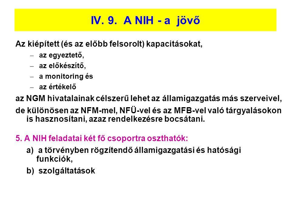 IV. 9. A NIH - a jövő Az kiépített (és az előbb felsorolt) kapacitásokat, az egyeztető, az előkészítő,