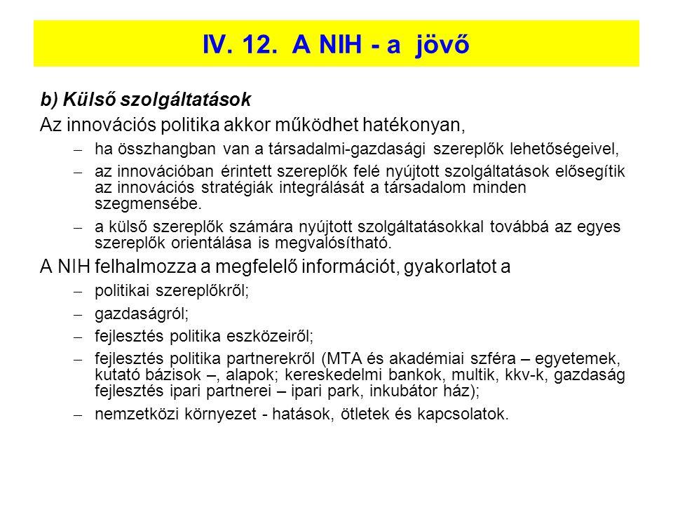 IV. 12. A NIH - a jövő b) Külső szolgáltatások