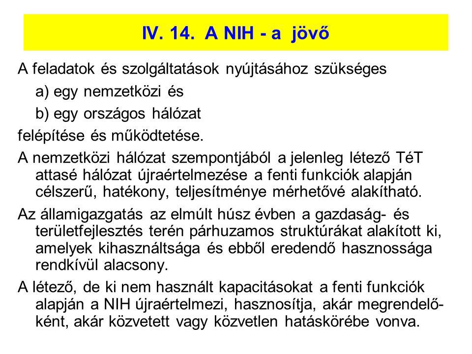 IV. 14. A NIH - a jövő A feladatok és szolgáltatások nyújtásához szükséges. a) egy nemzetközi és.