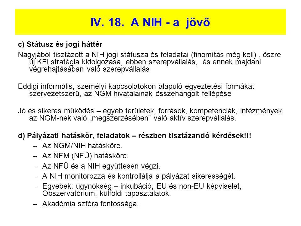 IV. 18. A NIH - a jövő c) Státusz és jogi háttér