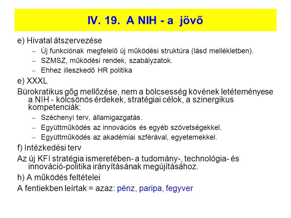 IV. 19. A NIH - a jövő e) Hivatal átszervezése e) XXXL