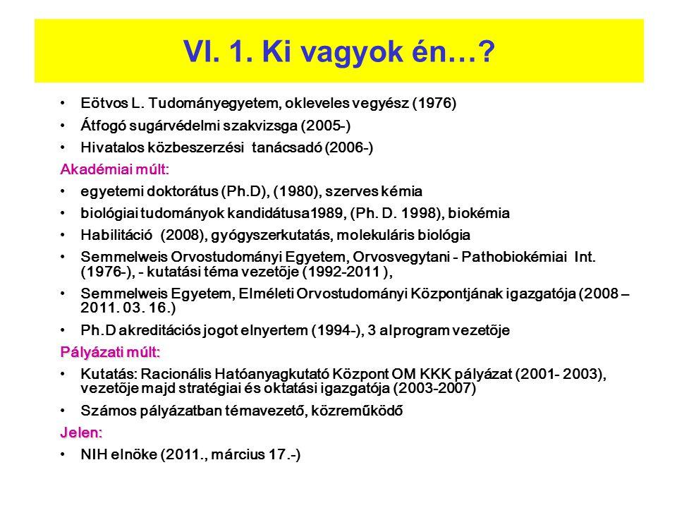 VI. 1. Ki vagyok én… Eötvos L. Tudományegyetem, okleveles vegyész (1976) Átfogó sugárvédelmi szakvizsga (2005-)