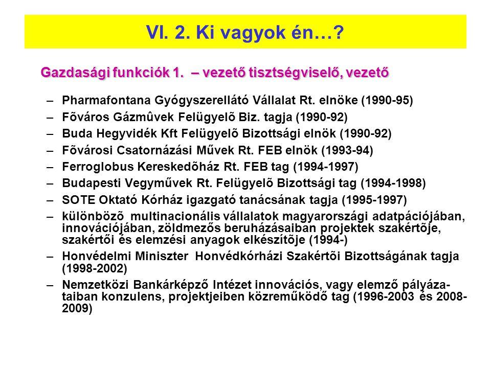 VI. 2. Ki vagyok én… Gazdasági funkciók 1. – vezető tisztségviselő, vezető. Pharmafontana Gyógyszerellátó Vállalat Rt. elnöke (1990-95)