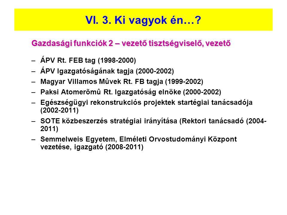 VI. 3. Ki vagyok én… Gazdasági funkciók 2 – vezető tisztségviselő, vezető. ÁPV Rt. FEB tag (1998-2000)