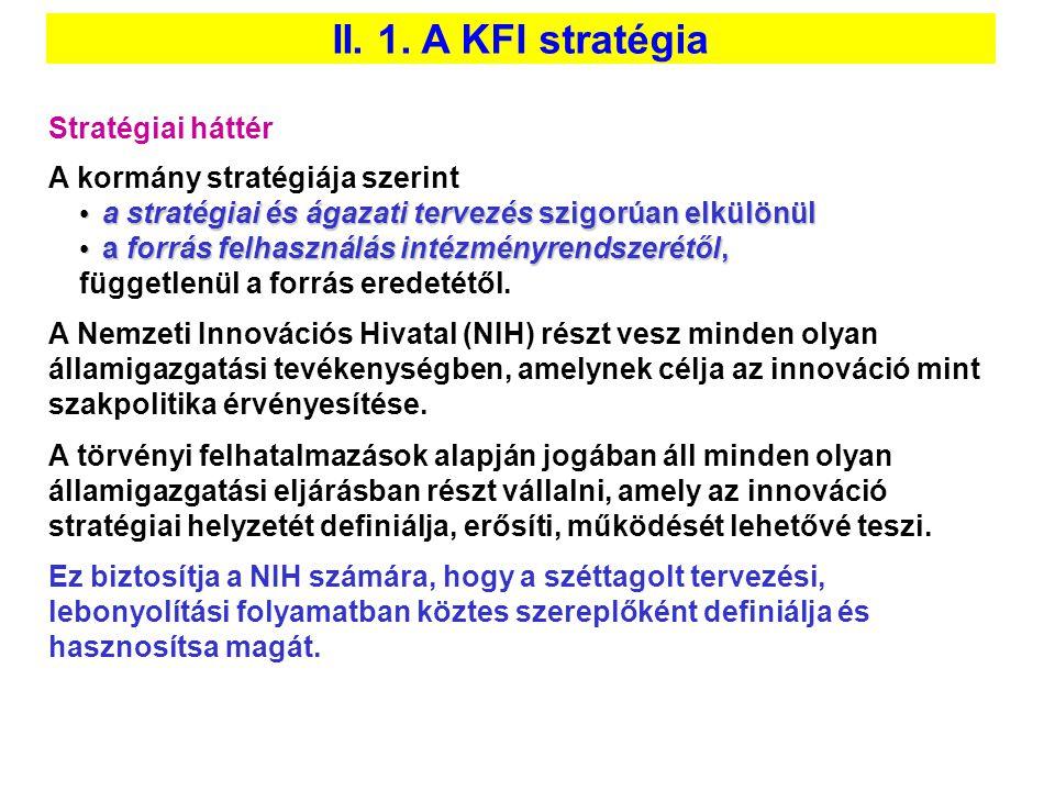 II. 1. A KFI stratégia Stratégiai háttér A kormány stratégiája szerint